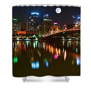 Full Moon Over Pittsburgh Shower Curtain