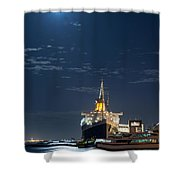 Full Moon Over Queen Mary Shower Curtain