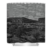 Full Moon Over Red Cliffs Bw Shower Curtain