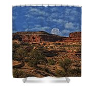 Full Moon Over Red Cliffs Shower Curtain