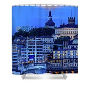 Full Moon Over The Katarina Church And Sodermalm In Stockholm Shower Curtain