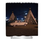 Full Moon Over Wigwam Motel Shower Curtain