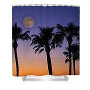 Full Moon Palm Tree Sunset Shower Curtain