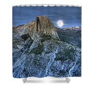 Full Moon Rising Behind Half Dome Shower Curtain