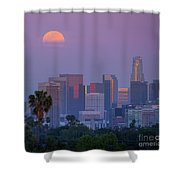Full Moon Rising Over Downtown Los Angeles Skyline Shower Curtain