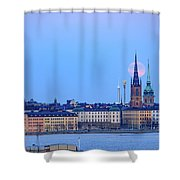 Full Moon Rising Over Gamla Stan Churches In Stockholm Shower Curtain