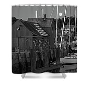 Full Moon Rising Over Motif  Number 1 Rockport Ma Black And White Shower Curtain