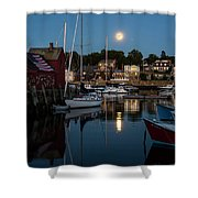 Full Moon Rising Over Motif  Number 1 Rockport Ma Moonrise Shower Curtain