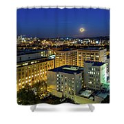Full Moon Rising Over Portland Downtown Shower Curtain