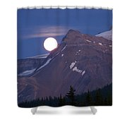 Full Moon Over The Rockies Shower Curtain