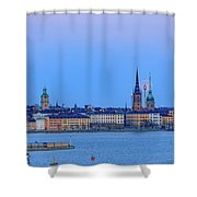 Full Moon Rising Over The Trio Of Gamla Stan Churches In Stockholm Shower Curtain