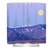 Full Moon Setting Over The Colorado Rocky Mountains Shower Curtain