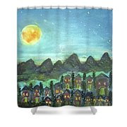 Full Moon Village Shower Curtain