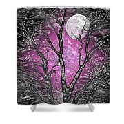 Full Moon Watching Shower Curtain