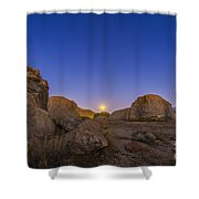 Full Moonrise At City Of Rocks State Shower Curtain