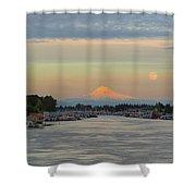 Full Moonrise Over Mount Hood Along Columbia River Shower Curtain