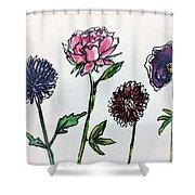 Four Flowers  Shower Curtain