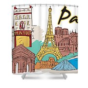 Fun Food And Folly In Paris Shower Curtain