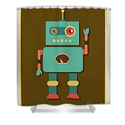 Fun Retro Robot Shower Curtain