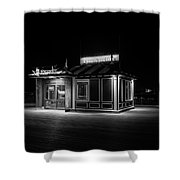 Funicular Ticket Booth At Night In Black And White Shower Curtain