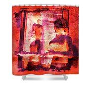 Funky Abstract Square Welcome Couple Red Pink Purple Lake City 1a Shower Curtain