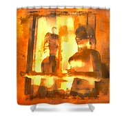Funky Abstract Square Welcome Couple Sunny Yellow Lake City 1b Shower Curtain