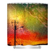 Funky Sunset Shower Curtain
