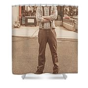 Funny Anchorman On Tv Shower Curtain