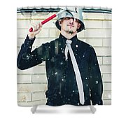 Funny Cleaner Man Ready For Action Shower Curtain
