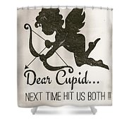 Funny Cupid Art - Vintage Love Quotes Art Typography Shower Curtain