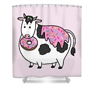 Funny Fat Holstein Cow Sprinkle Doughnut Shower Curtain