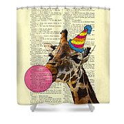 Funny Giraffe, Dictionary Art Shower Curtain
