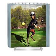 funny pet scene tennis playing Doberman Shower Curtain