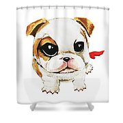 Funny Puppy Hand Painted Watercolor  Shower Curtain