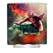 Funny Space Sloth Riding On Turtle Shower Curtain