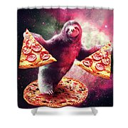 Funny Space Sloth With Pizza Shower Curtain