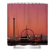 Funtown Pier At Sunset II - Jersey Shore Shower Curtain by Angie Tirado