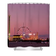 Funtown Pier At Sunset IIi - Jersey Shore Shower Curtain by Angie Tirado