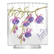 Fuschia Flowers Shower Curtain