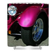 Fuschia Hot Rod Wheel  Shower Curtain