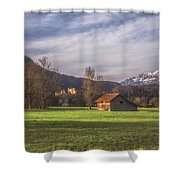 Fussen Mountain Scene Shower Curtain