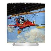 Futuristic Air Travel Vintage Poster Shower Curtain