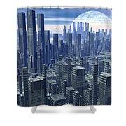 Futuristic City - 3d Render Shower Curtain