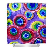 Fuzzy Purple Circles Shower Curtain