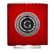 G - Silver Vintage Monogram On Red Leather Shower Curtain