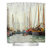 Gaily Coloured Fishing Vessels Shower Curtain