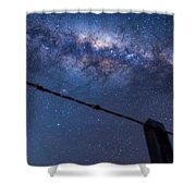 Galactic Kiwi On A Barbed Wire Shower Curtain
