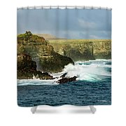 Cliffs At Suarez Point, Espanola Island Of The Galapagos Islands Shower Curtain