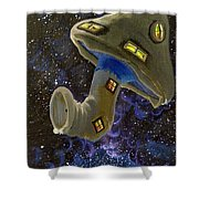 Button In Space Shower Curtain