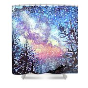 Galaxy Spring Night Watercolor Shower Curtain